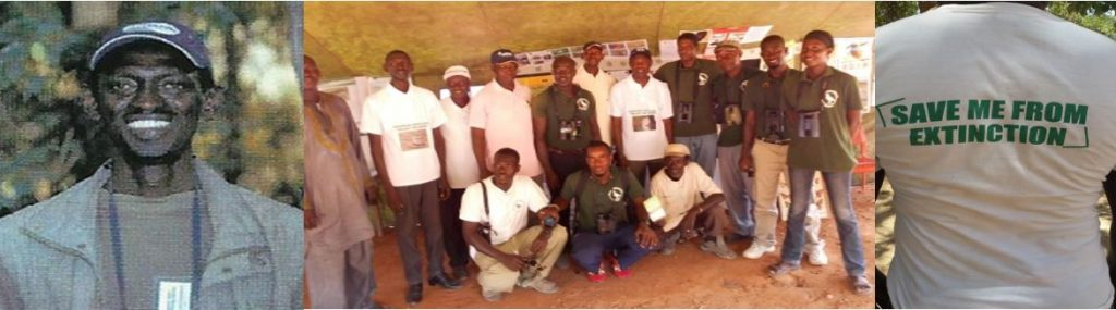 Three pictures showing the author Lamin Jobaate, the European Turtle Dove working group at the Gambia Bird Festival and one of the created t-shirts