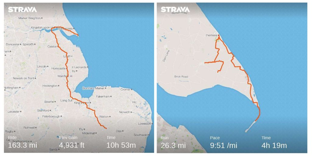 Photo: The cycle and marathon routes that Jonny and Nick undertook. Credit: Strava.